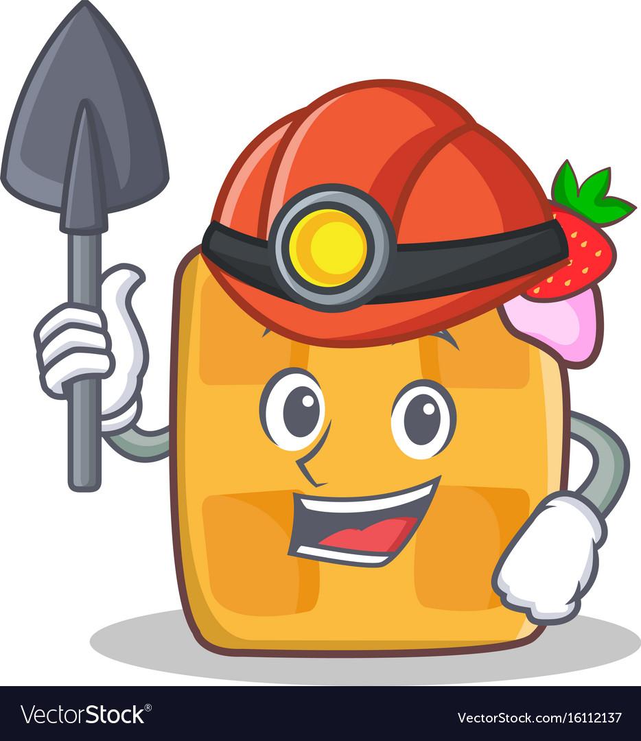 Miner waffle character cartoon design vector image