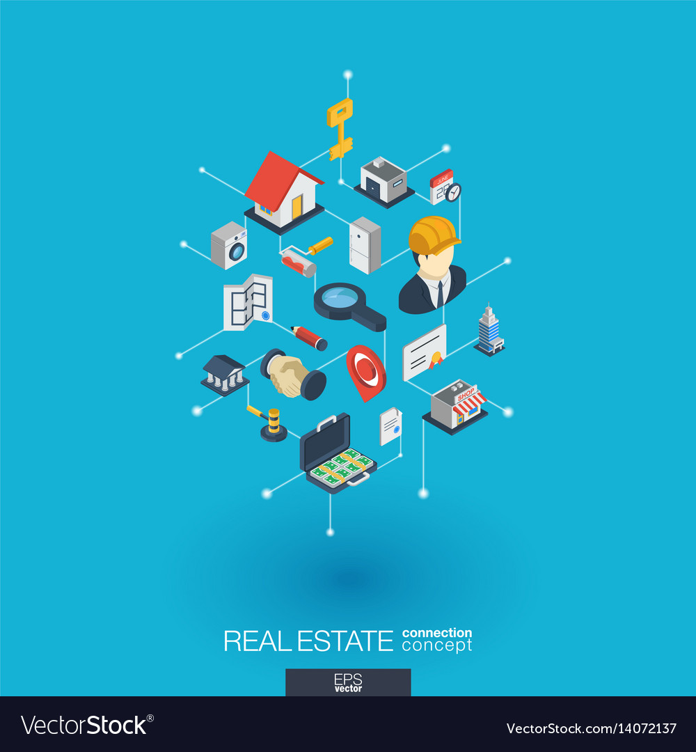Real estate integrated 3d web icons digital