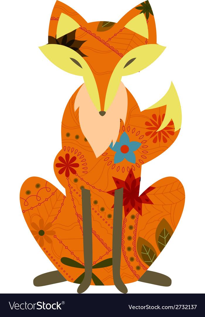 Retro fox vector image