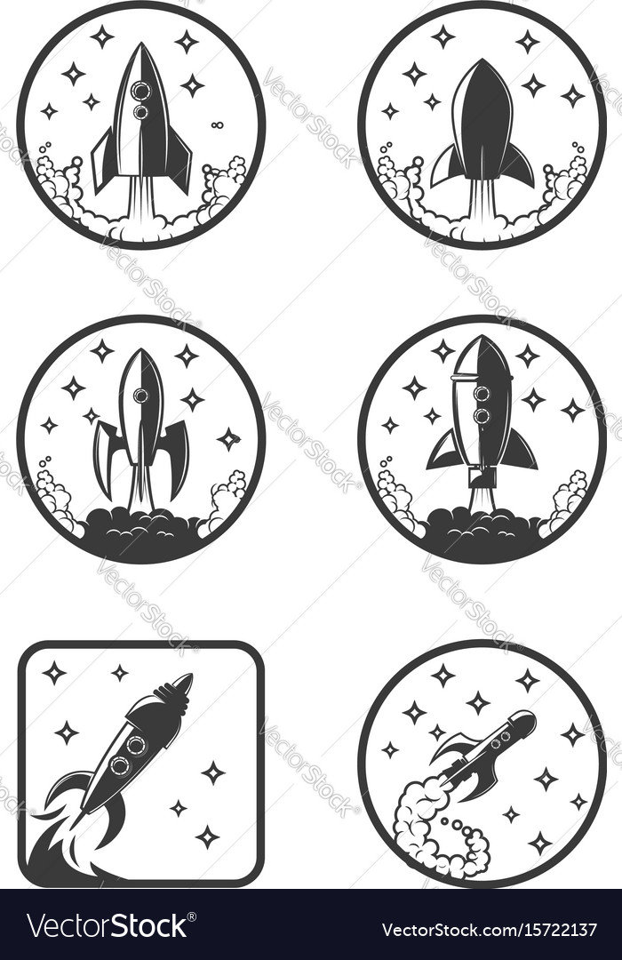 Set of the rocket launch icons design elements vector image