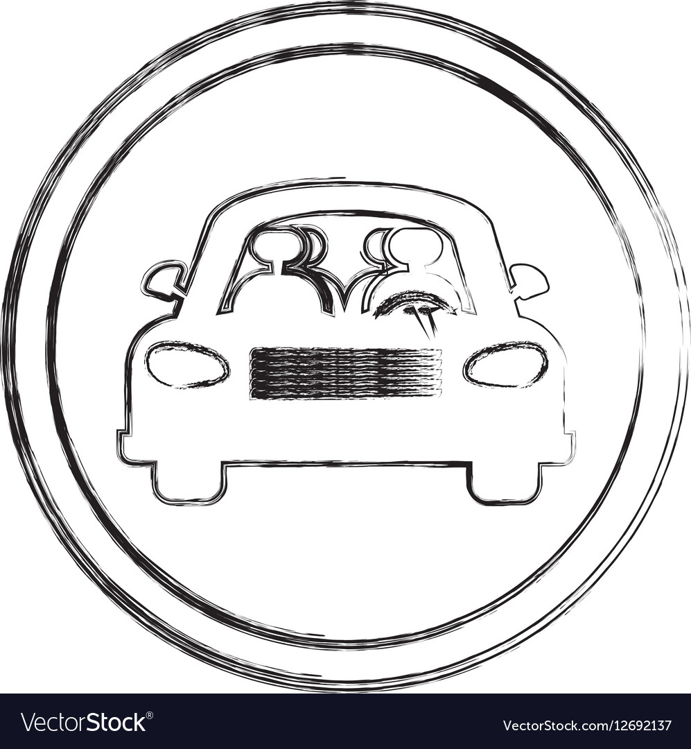 Silhouette blurred sign car crossing vector image