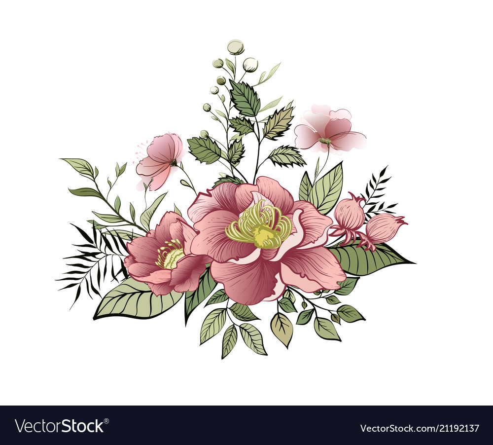 Spring flowers label with flowers and leaves