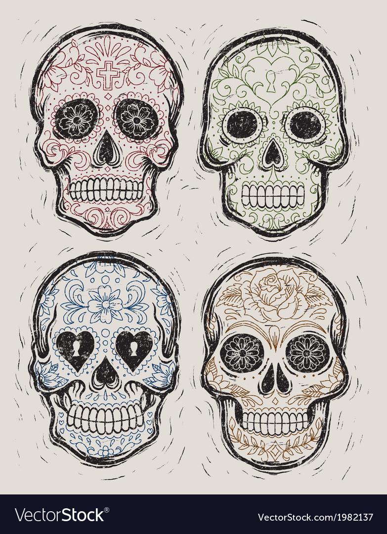 Woodcut day dead sugar skull set