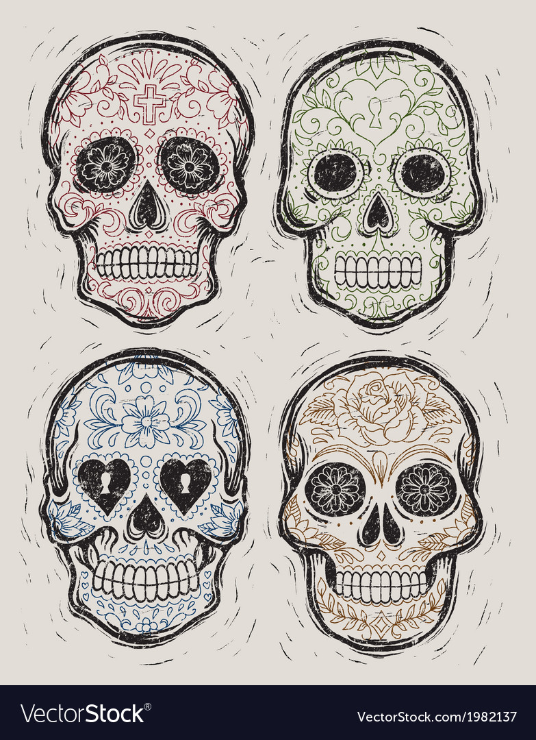 Woodcut Day of the Dead Sugar Skull Set