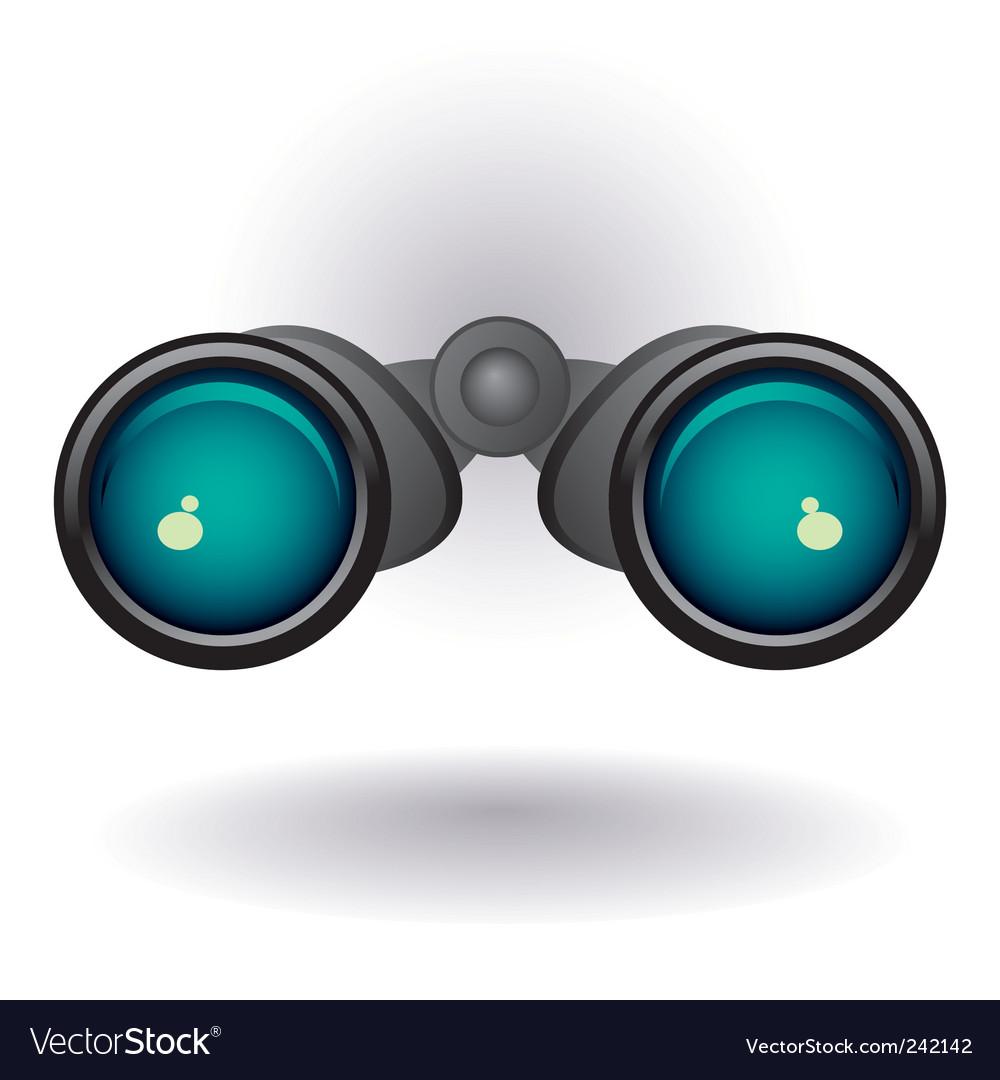 Black binoculars on white background vector image