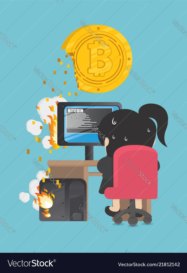 Business woman are trying to dig a bitcoin