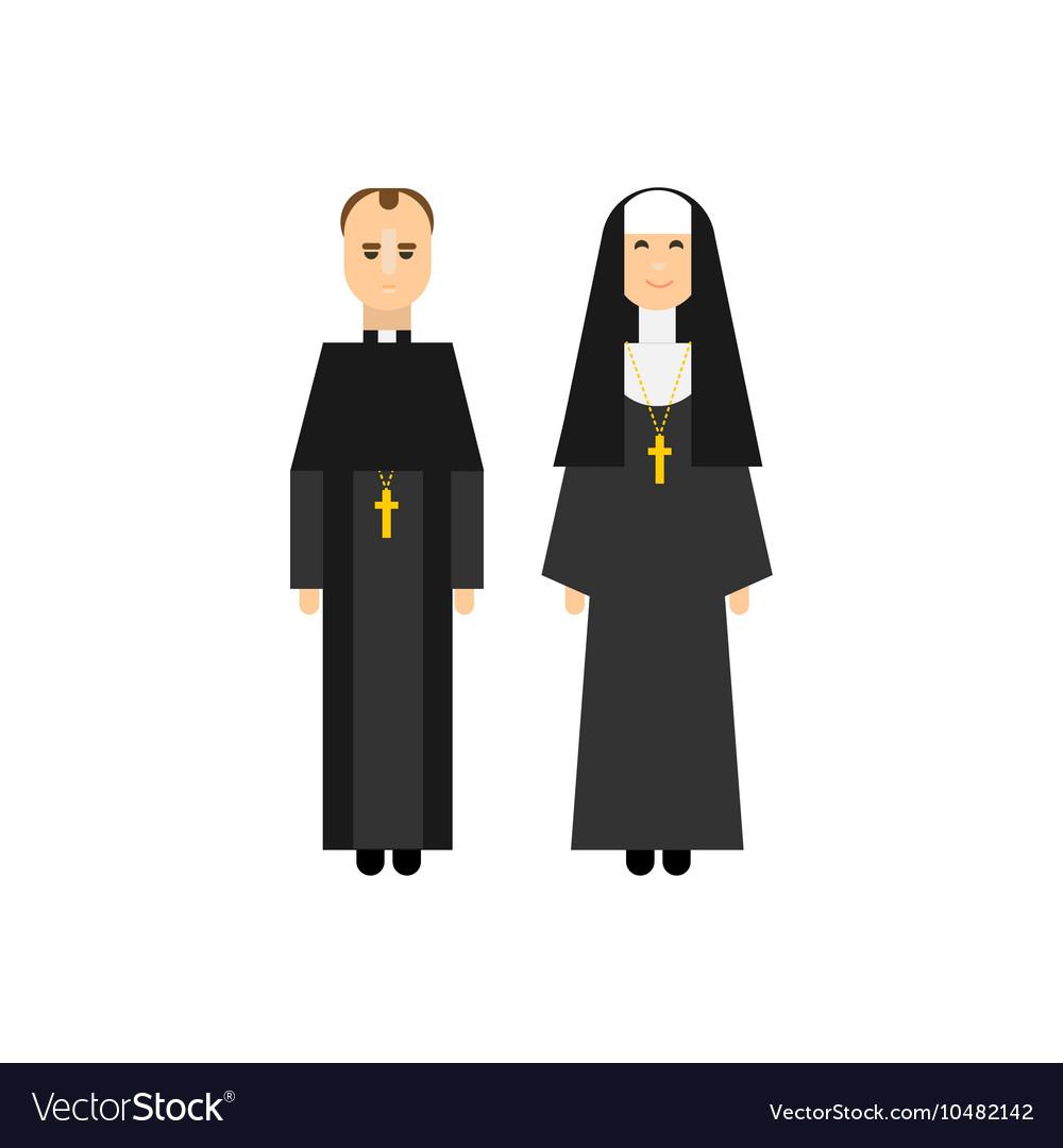 Catholic Men And Women Monks Royalty Free Vector Image
