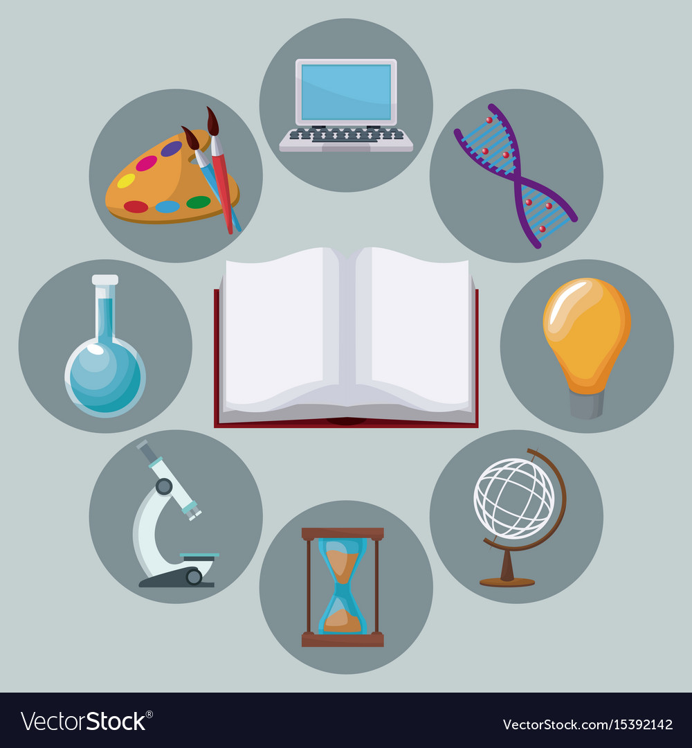 Color background open book with icons academic vector image