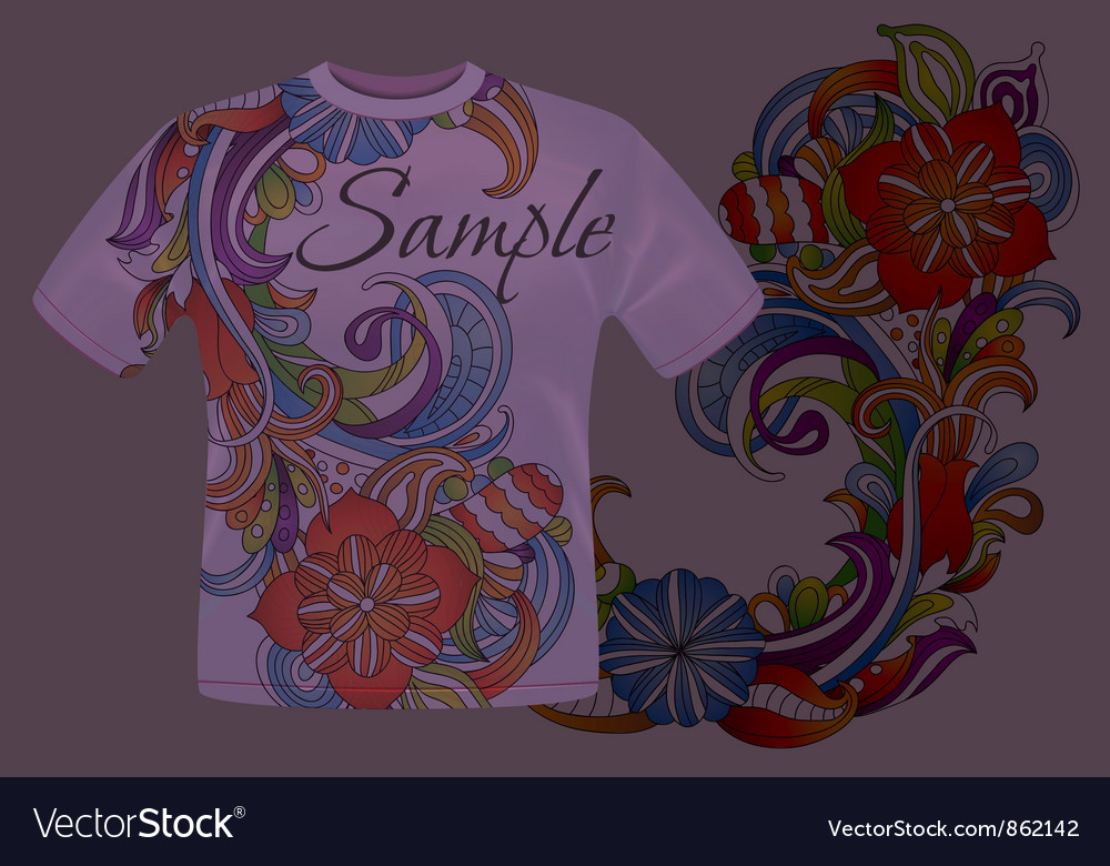 b478e38e Colorful floral t-shirt design Royalty Free Vector Image