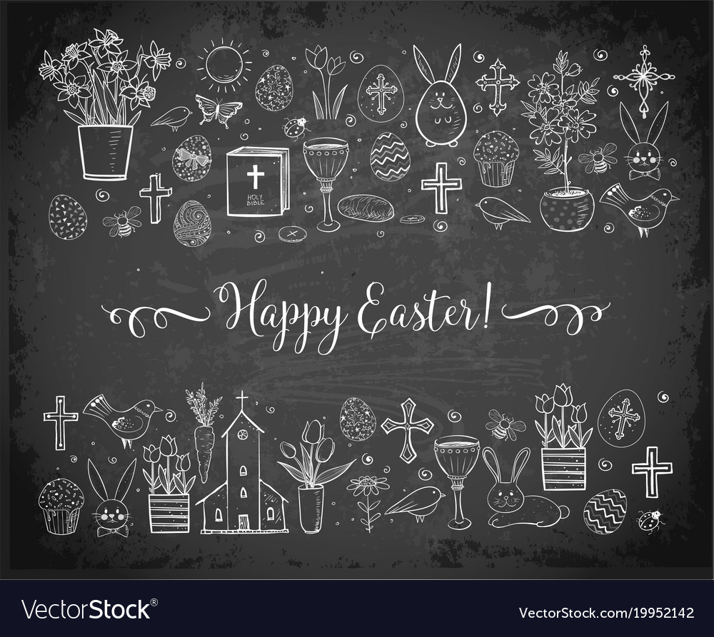 Easter greeting card with easter doodles on