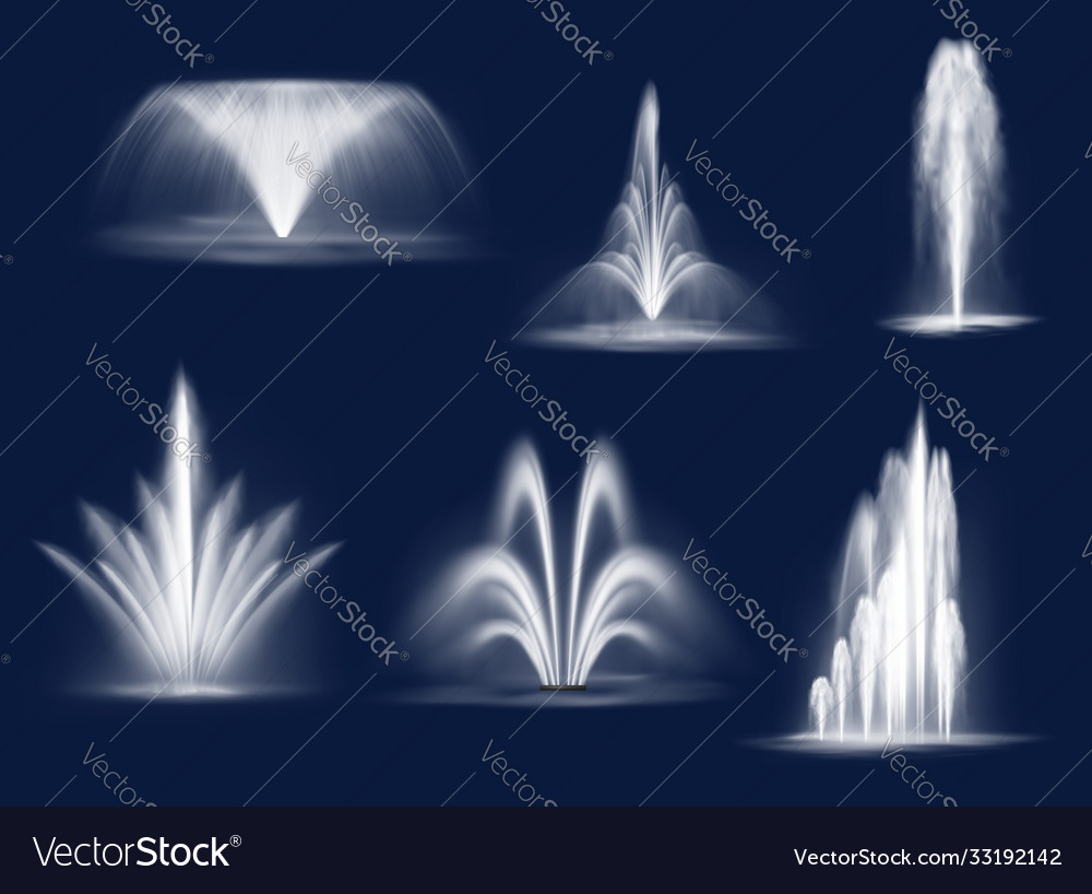 Fountains cascades isolated water jets set