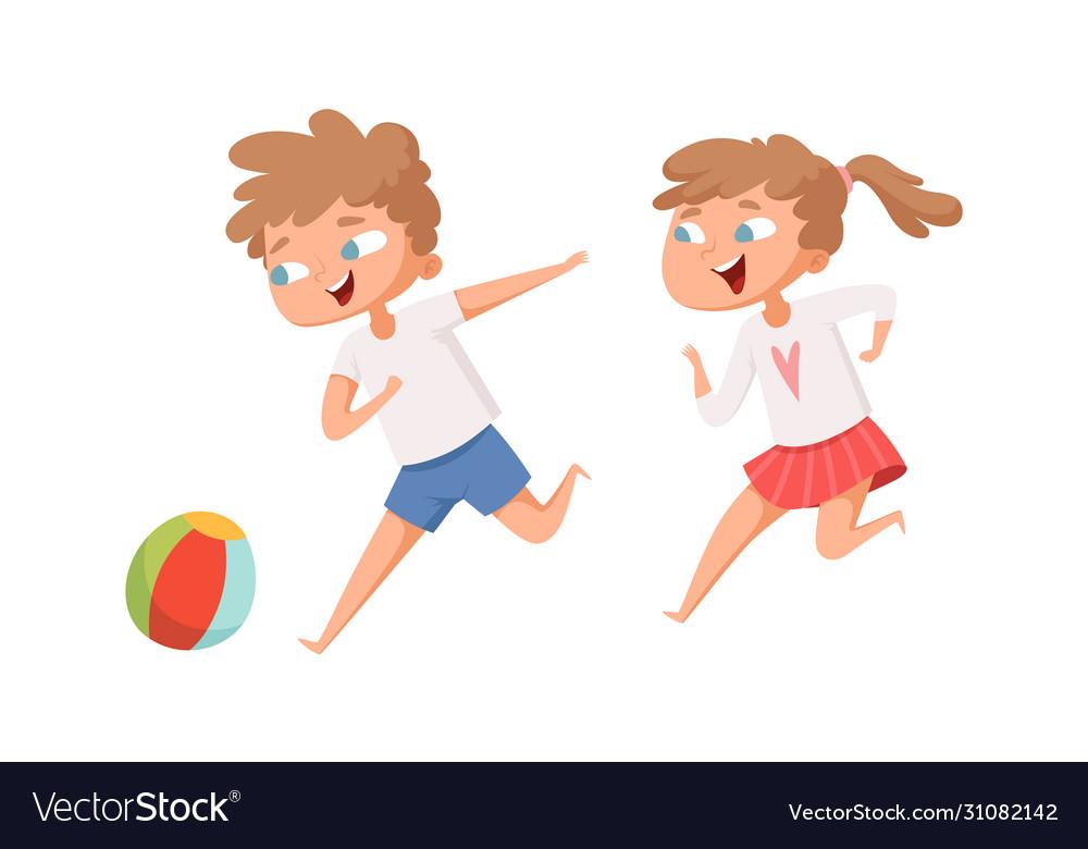 Kids play ball running cartoon boy and girl