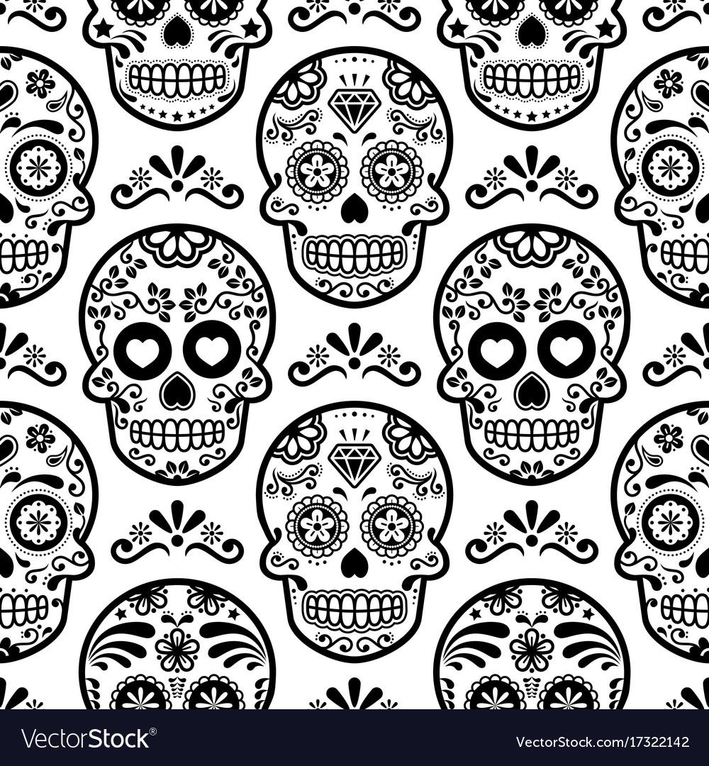 Mexican sugar skull seamless pattern