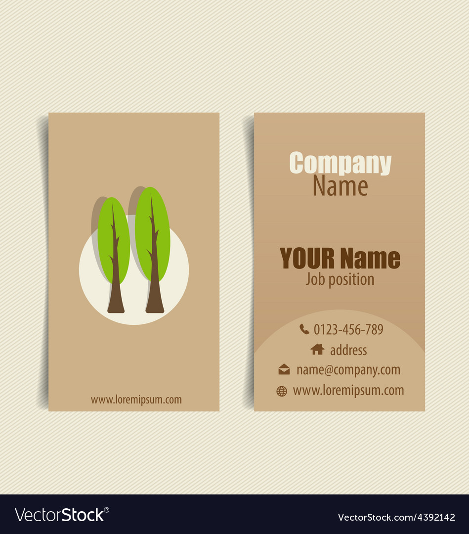 Modern business card template with nature vector image reheart Images
