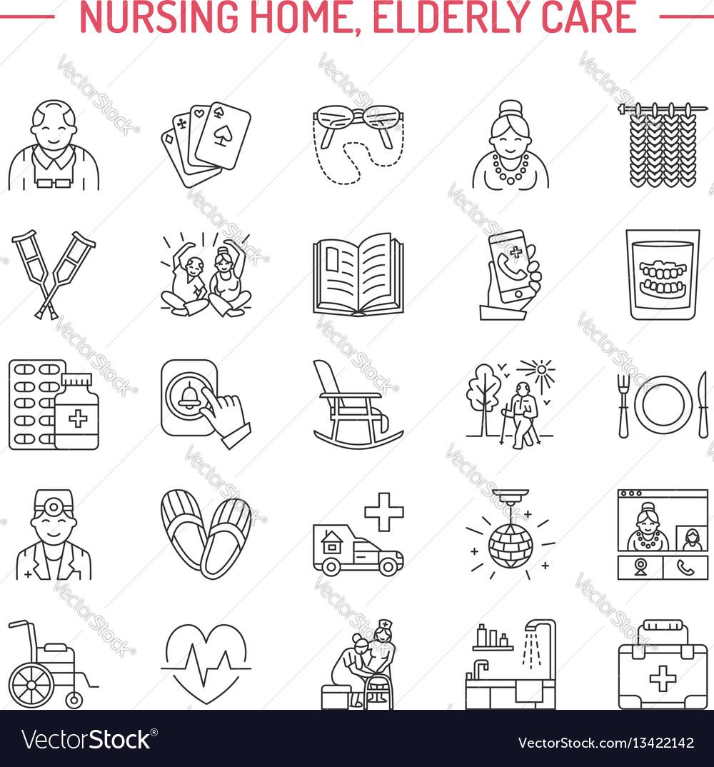 Modern line icon of senior and elderly care
