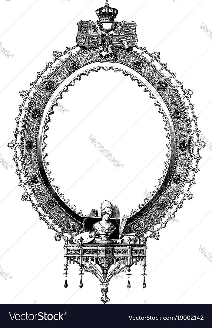Antique oval frame ornate Gold Vectorstock Ornate Oval Frame Is Scrollwork And Symbols Of Vector Image