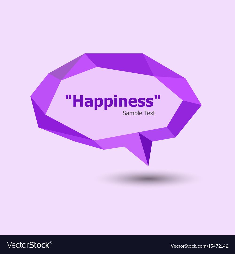 Purple polygonal geometric speech bubble