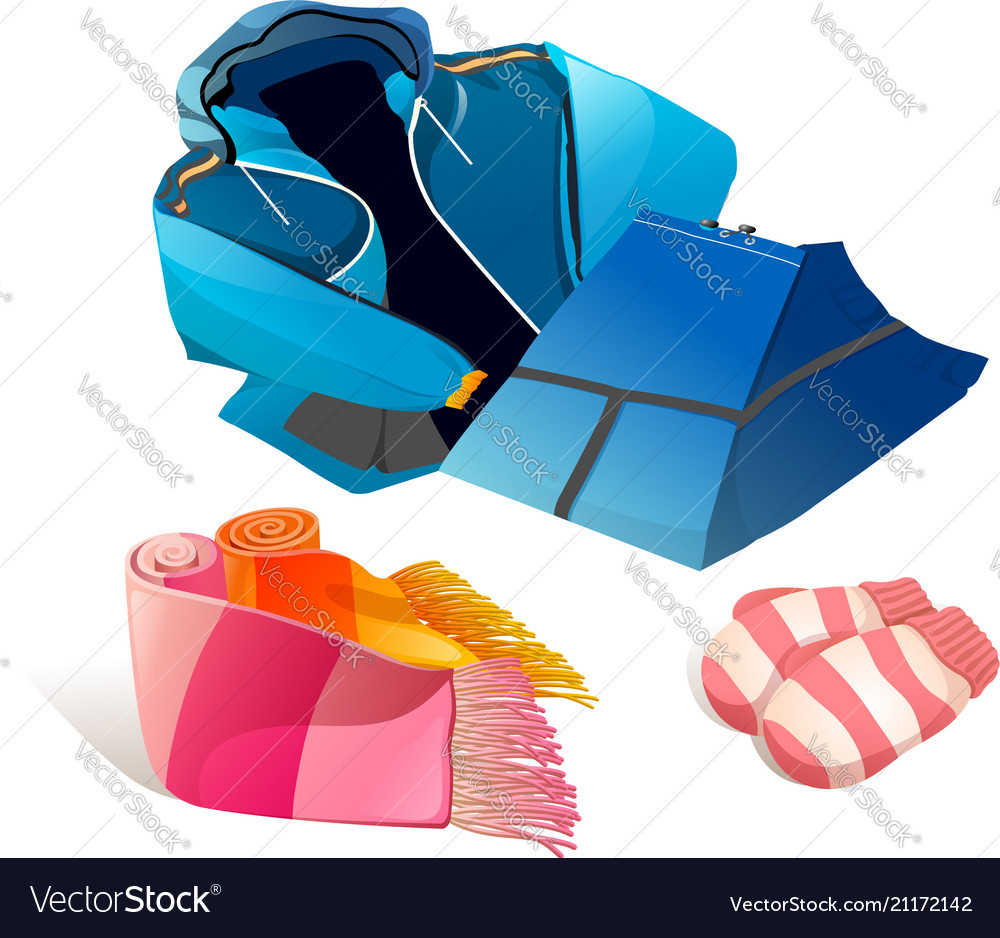 2d80711f96b7 Set winter clothing realistic Royalty Free Vector Image