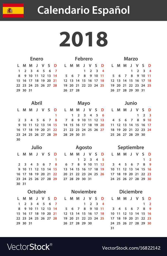 spanish calendar for 2018 scheduler agenda or vector image