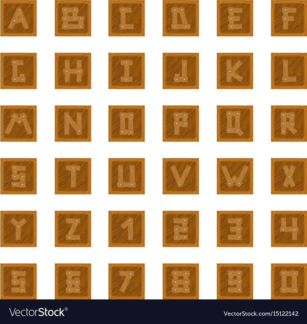 Wooden blocks with letters and numbers vector image