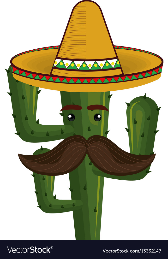 Animated cartoon cactus with mexican hat and