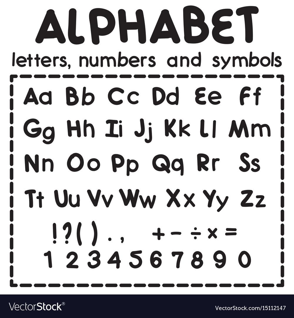Black latin alphabet isolated on white background