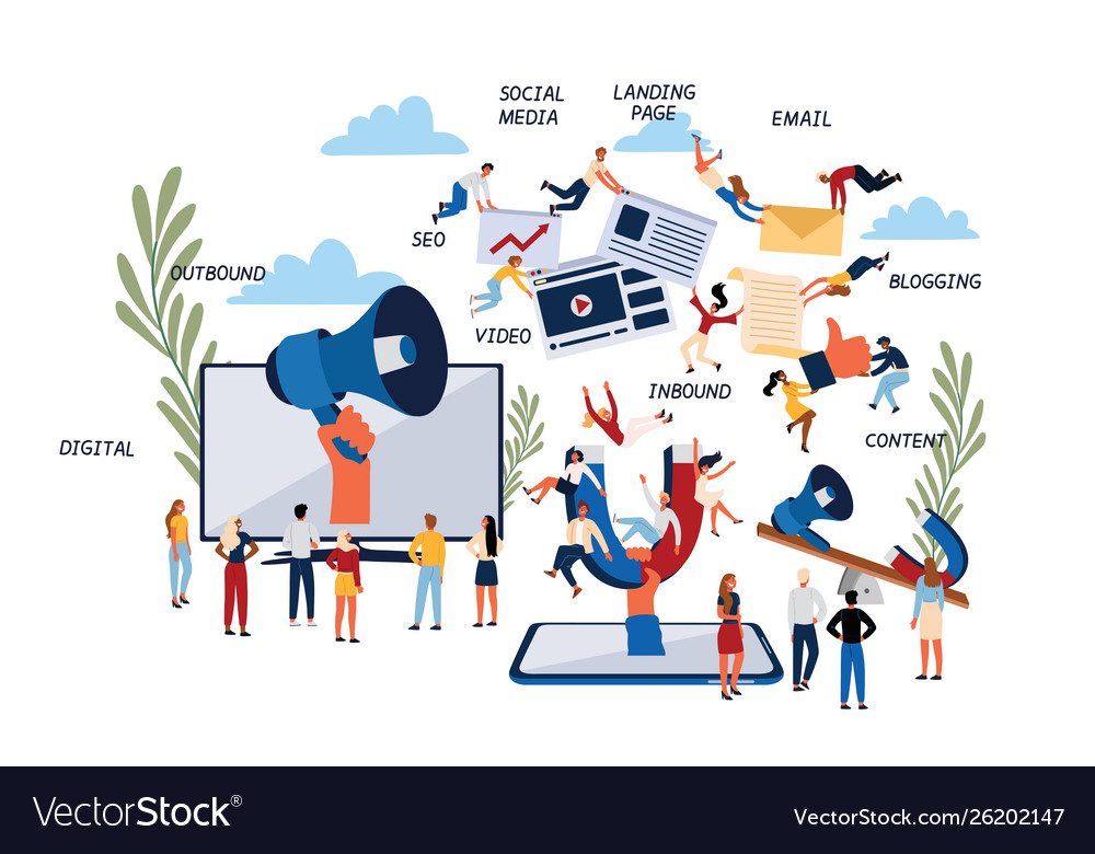 Business concept inbound and outbound digital
