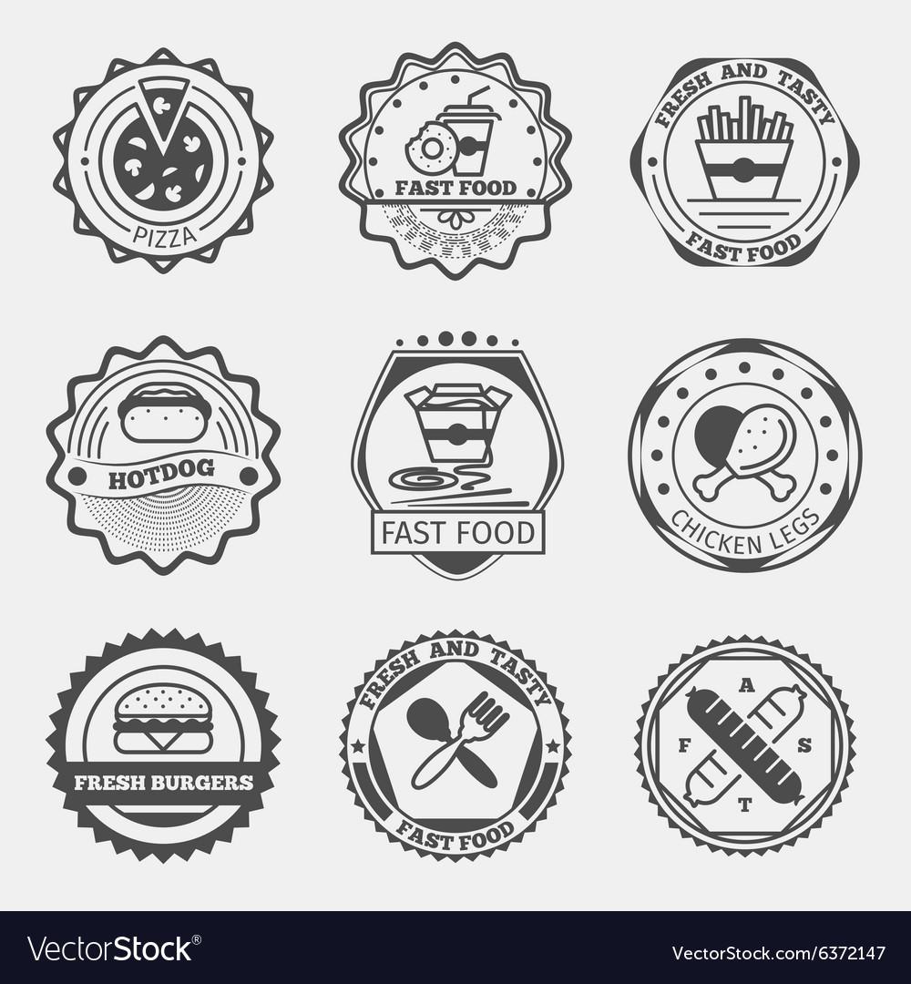 Fast food emblems logo or labels set