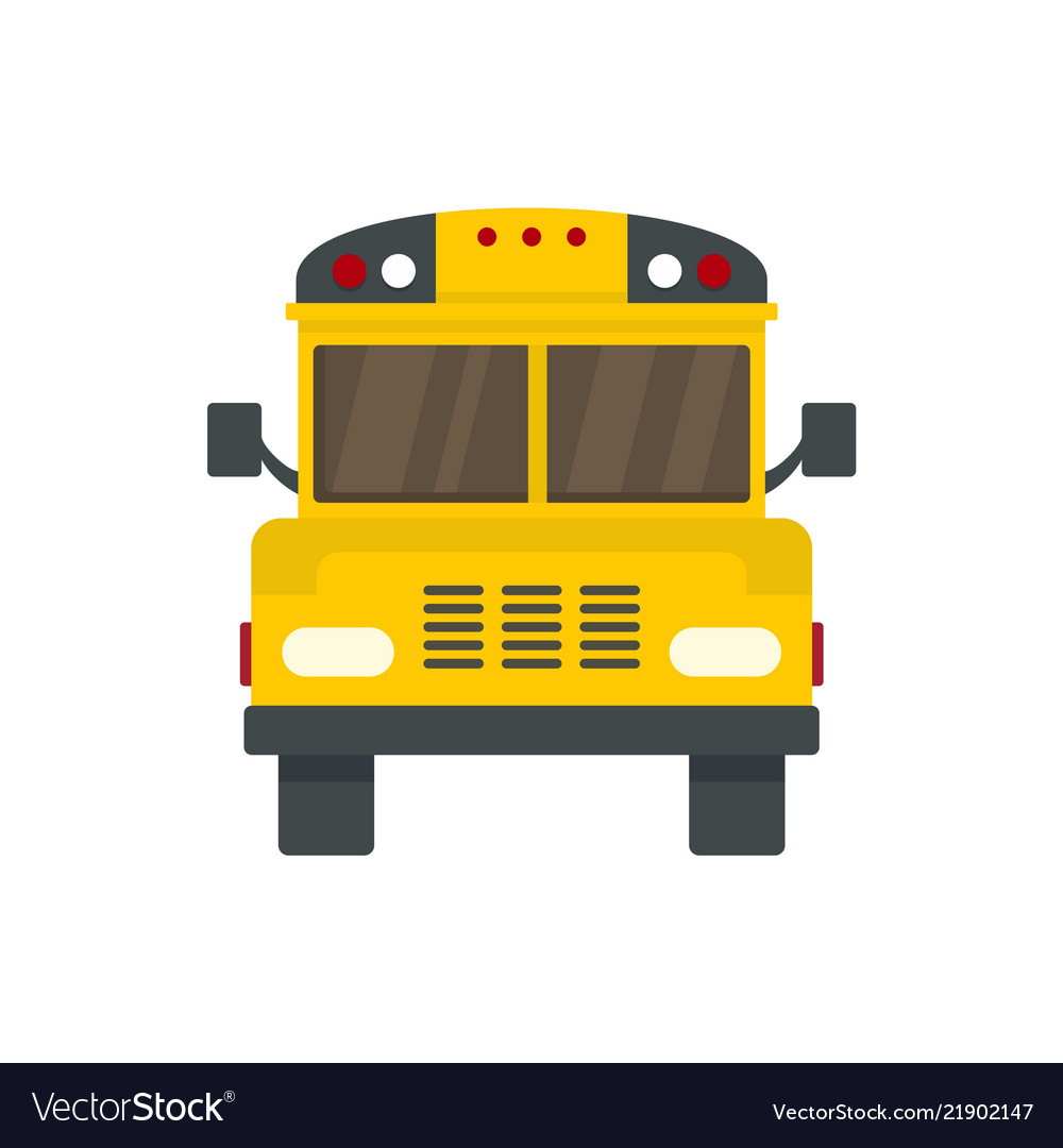Front of old school bus icon flat style