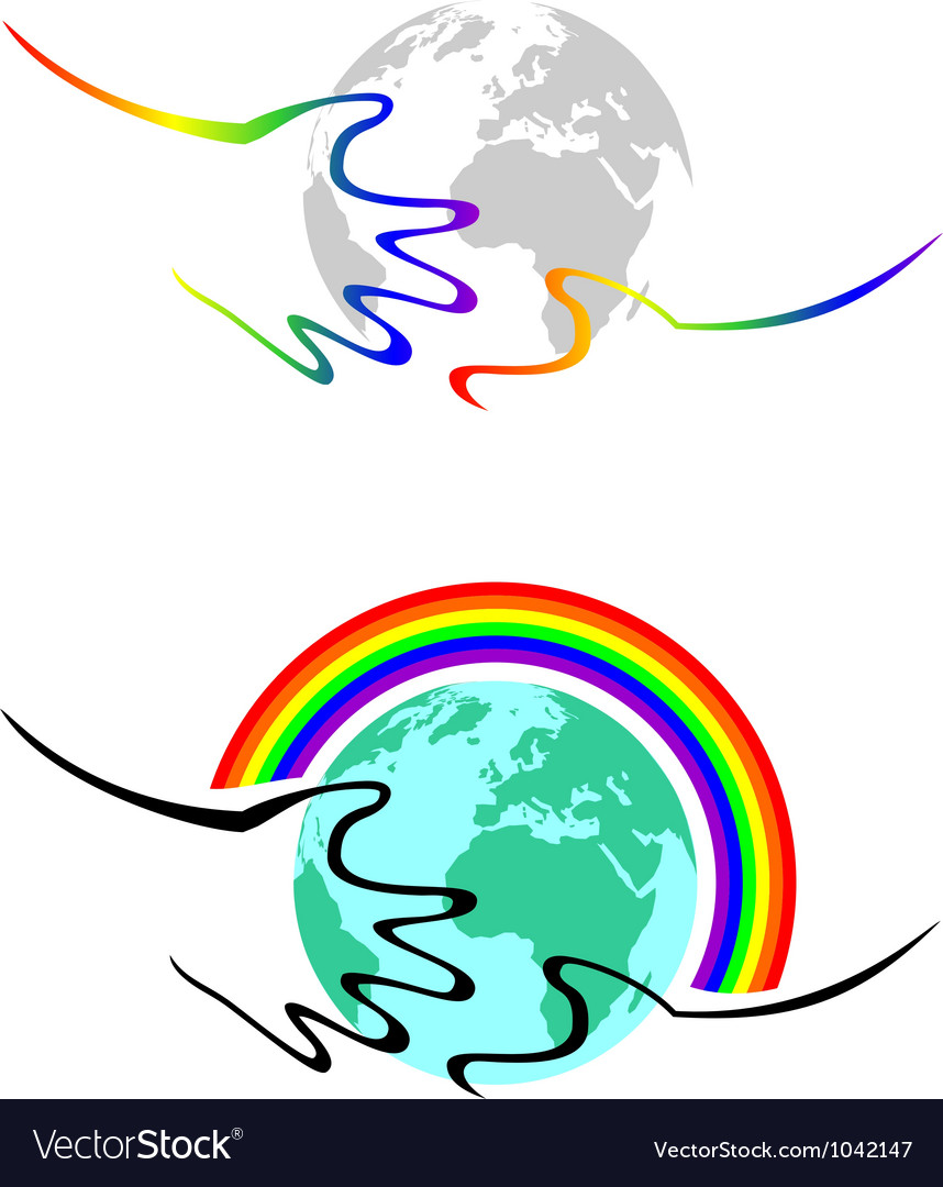 Gay symbolism hands hold the earth vector image