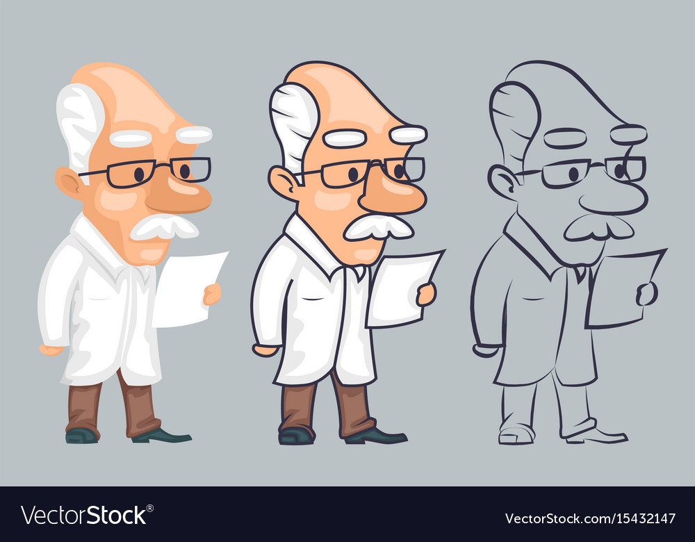 Lineart scientist reading paper study character