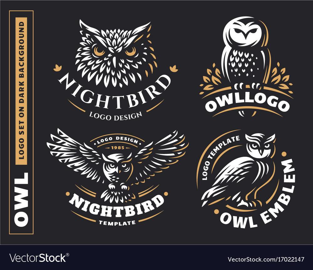 Owl logo set- emblem design