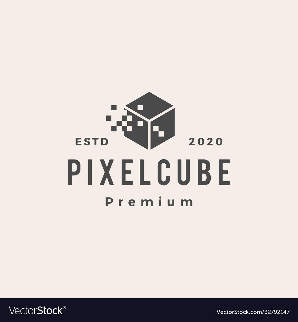 Pixel cube digital hipster vintage logo icon