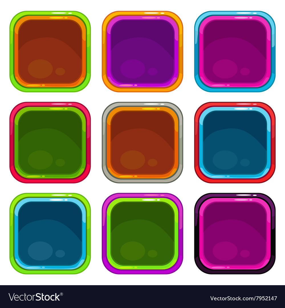 Rounded square app icon frames Royalty Free Vector Image