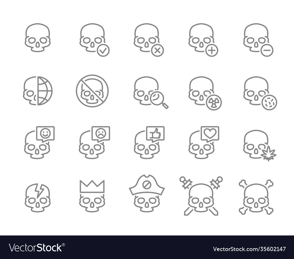 Set human skulls line icon healthy cranium
