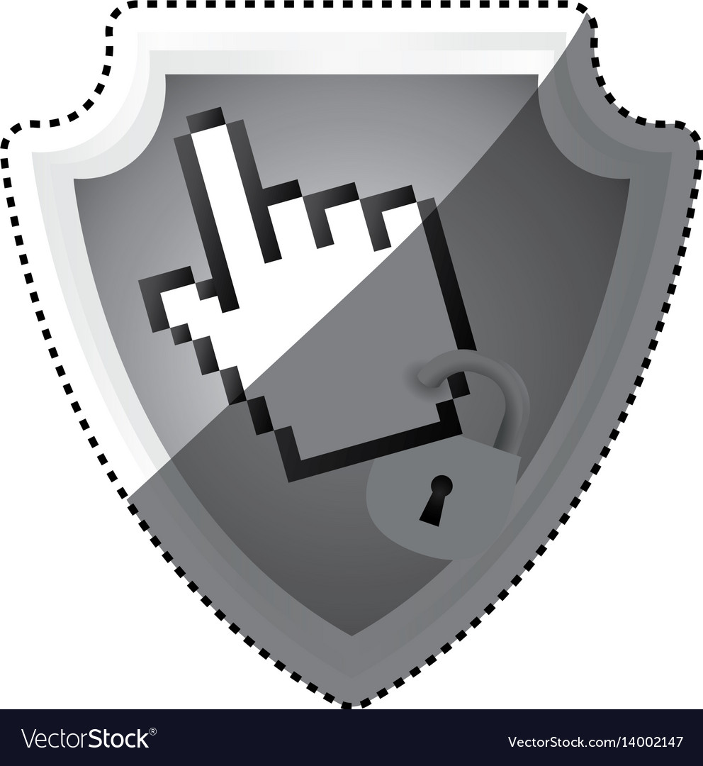 Shield security pointer hand vector image