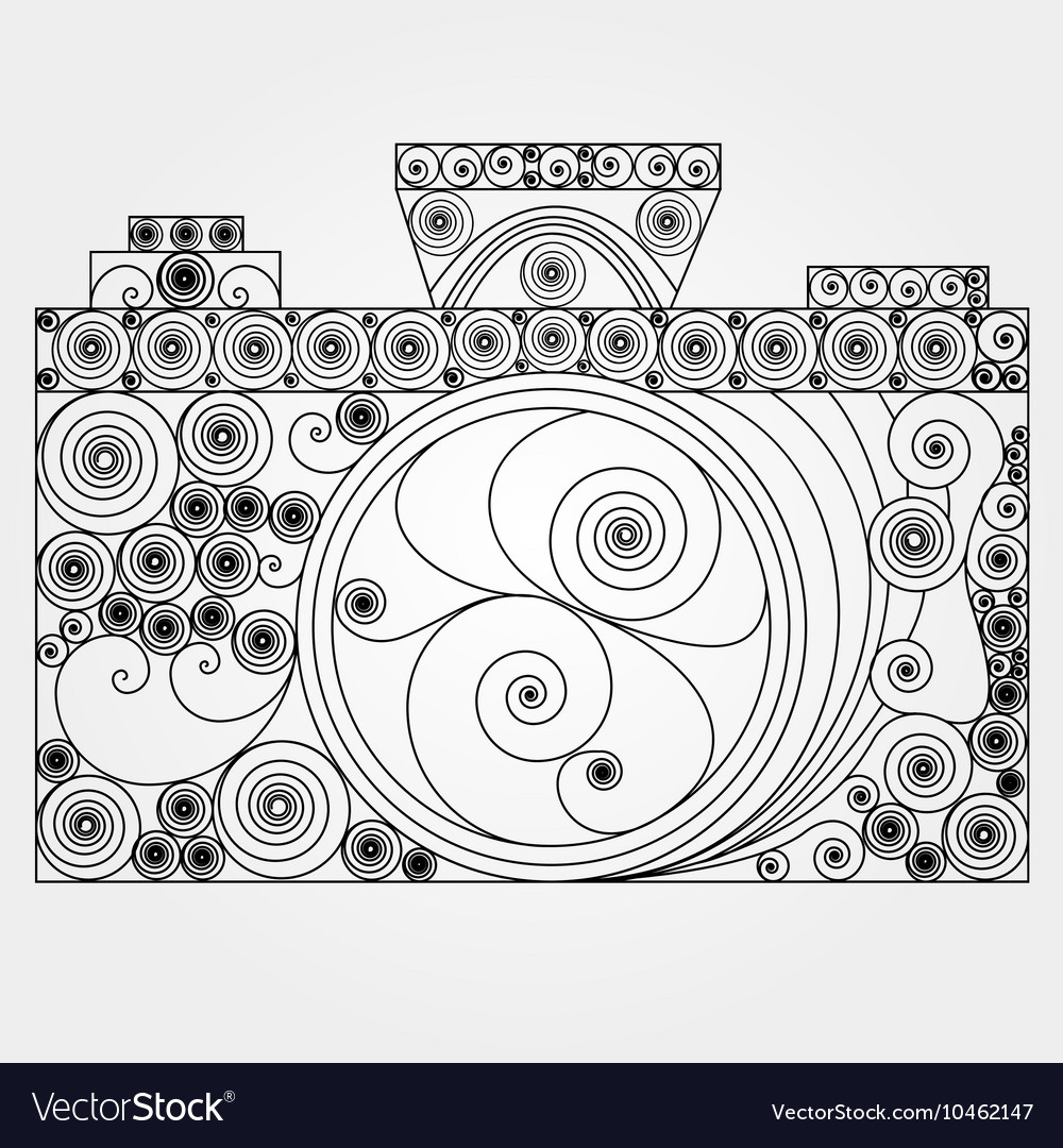 The photo camera in quilling style Royalty Free Vector Image