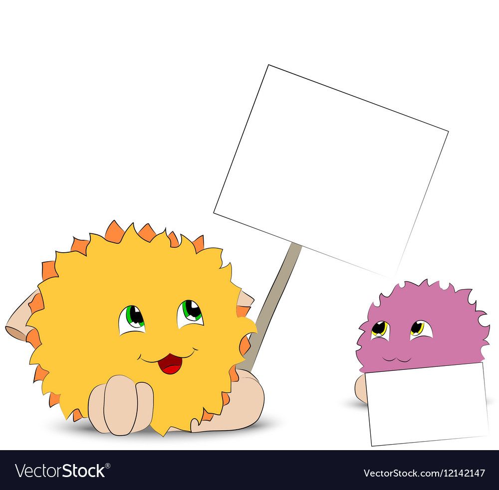 Two cartoon monster posters white background