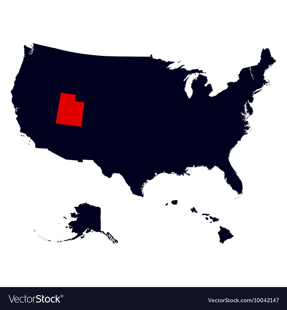 Utah State in the United States map