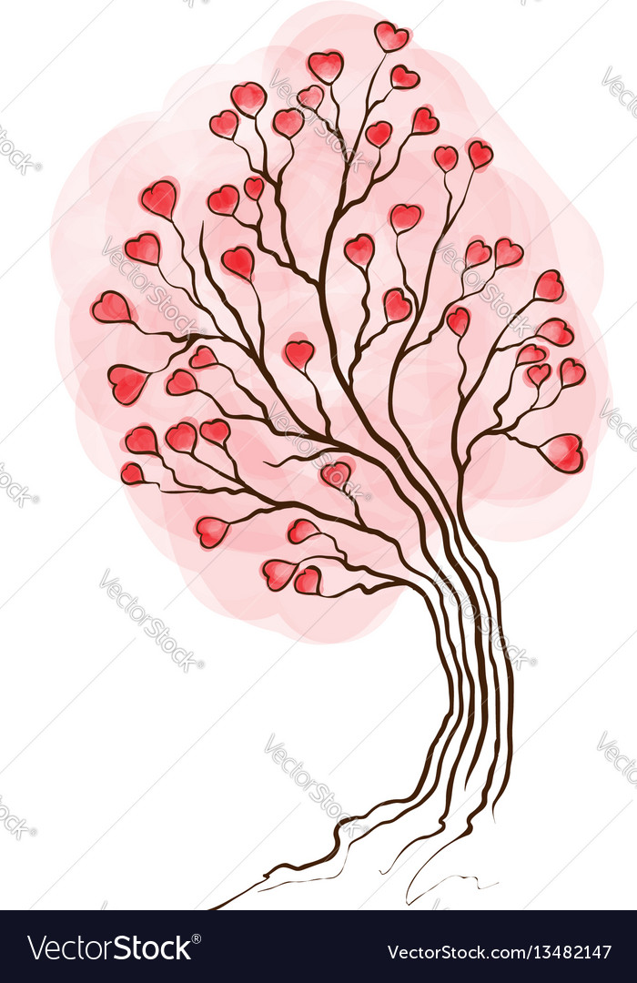 Watercolor tree with hearts