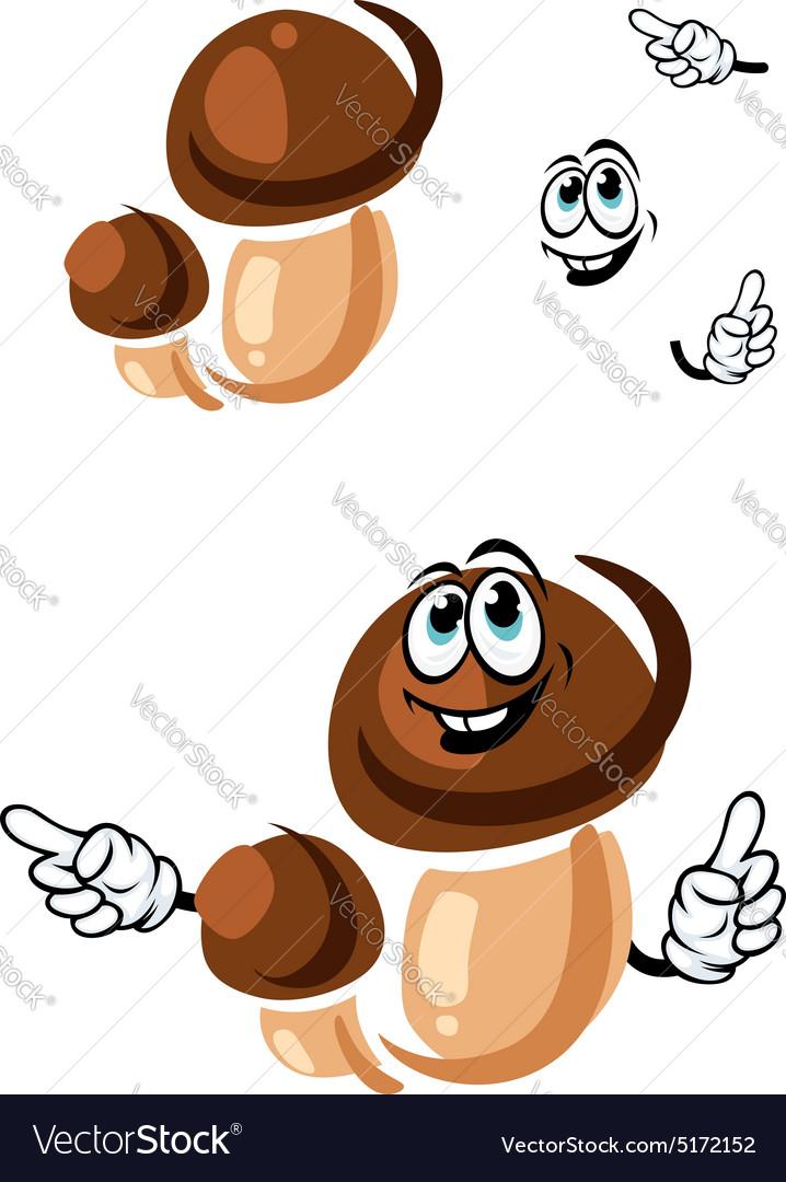 Autumn boletus mushroom cartoon character vector image