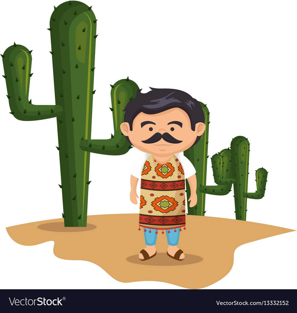 Background cactus with traditional mexican man vector image