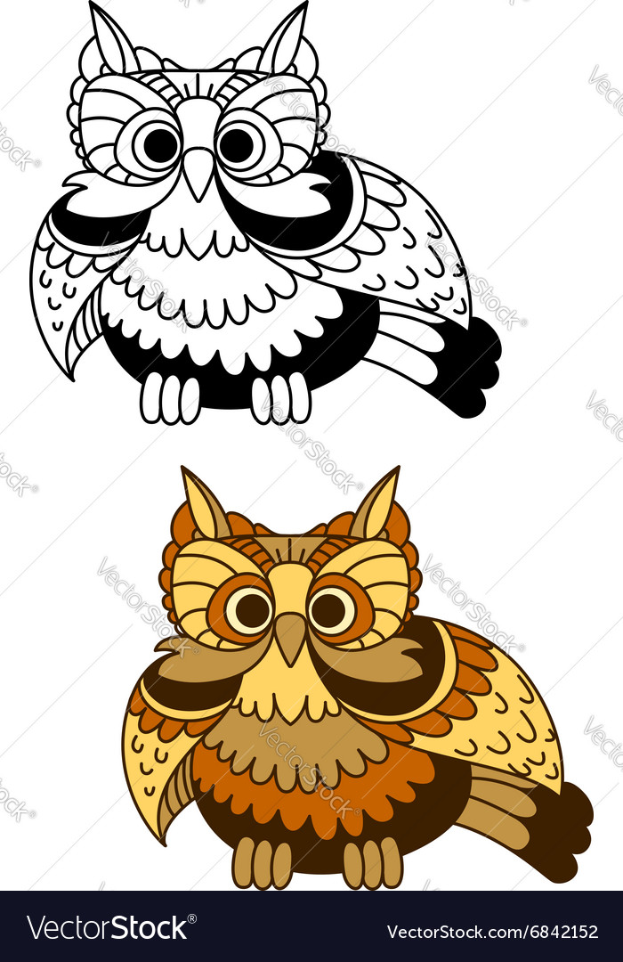 Cartoon striped owl with flapping wings vector image