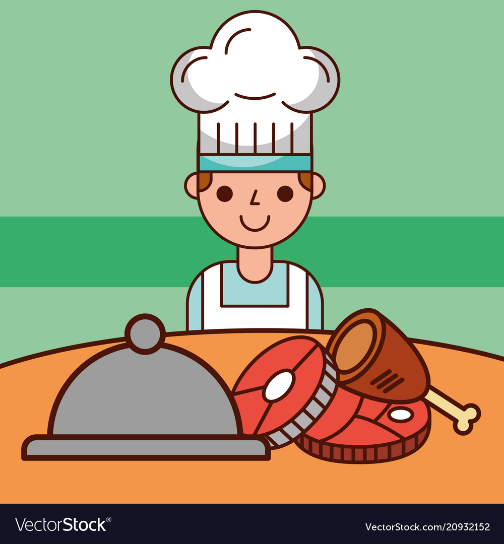 Chef boy cartoon and food service meat fish
