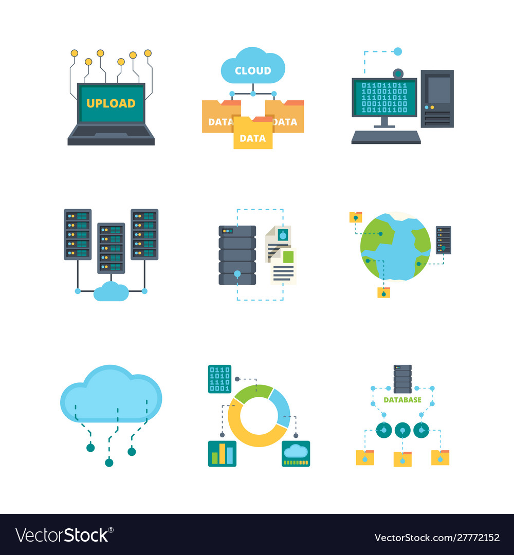 Data center icon cloud technology security