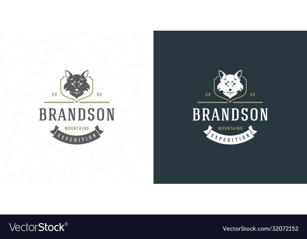 Fox head logo emblem vector