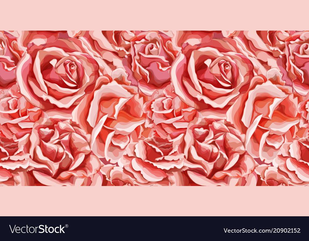 Hand rose flower blossom seamless pattern