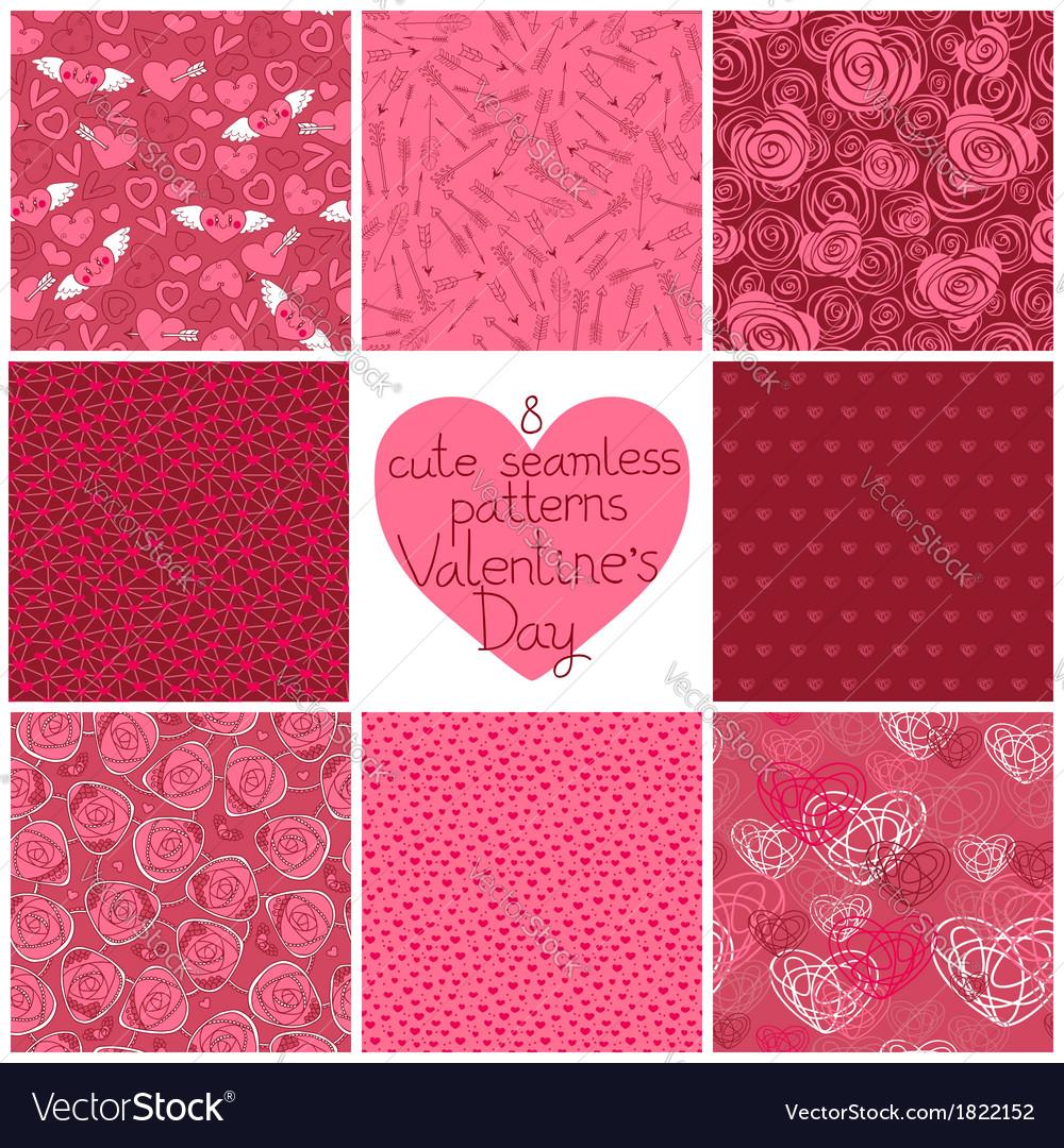 Seamless patterns Valentines Day