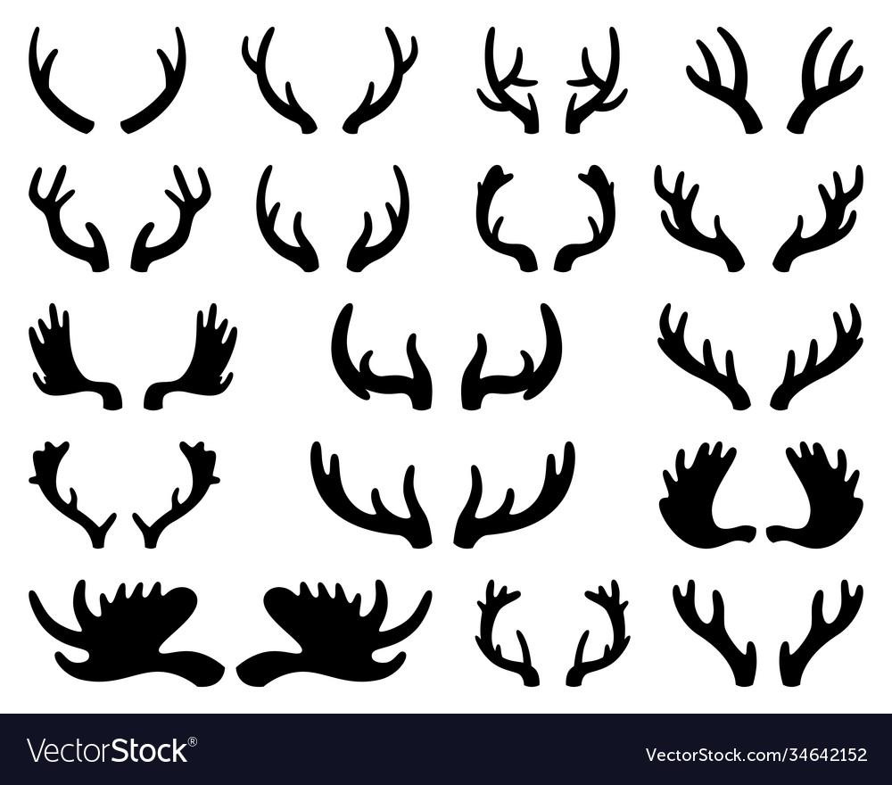 Silhouette deer and elk antlers horns