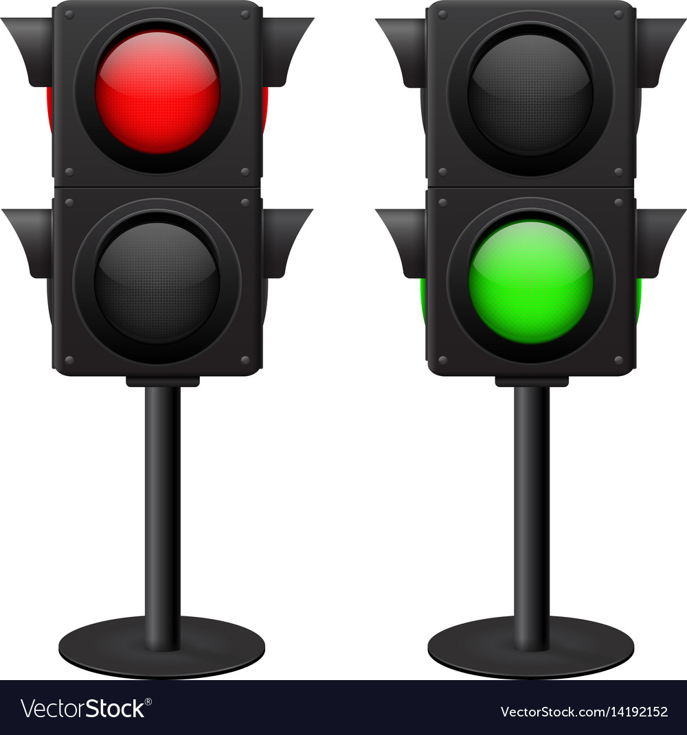 Traffic light stand red and green